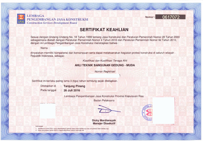 Sertifikat Keahlian (SKA) dan Informasinya
